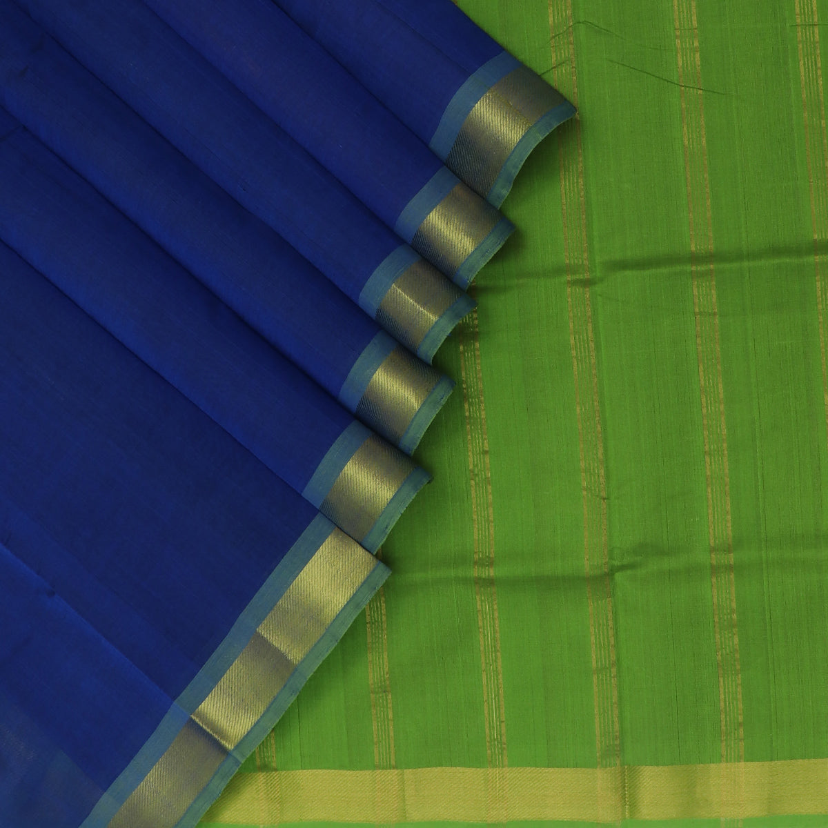 Silk Cotton Saree-Blue and Mehandi Green with Zari border
