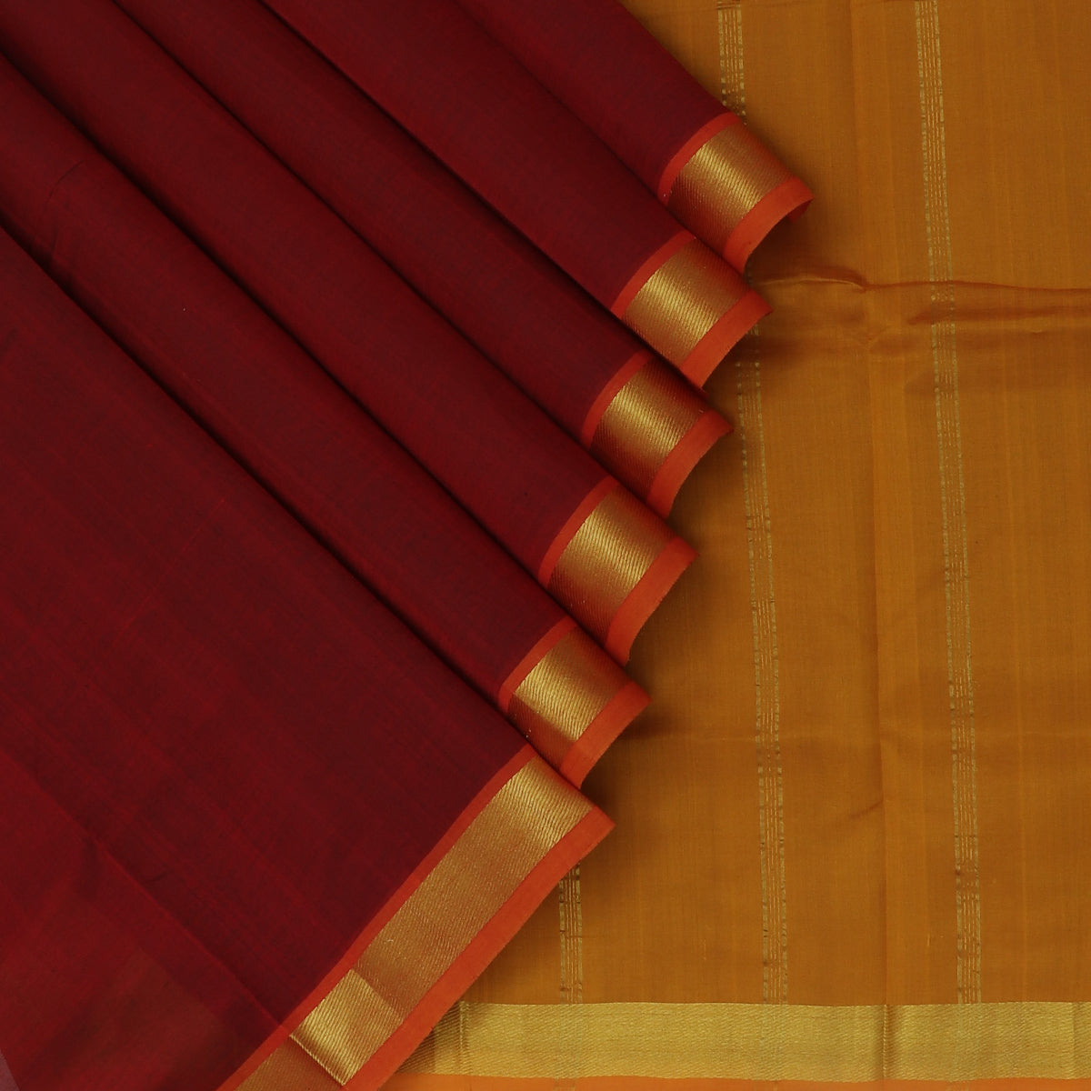 Silk Cotton Saree-Maroon and Honey color with Zari border