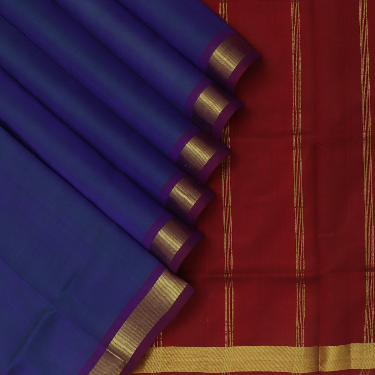 Silk Cotton Saree-Blue and Maroon with Zari border