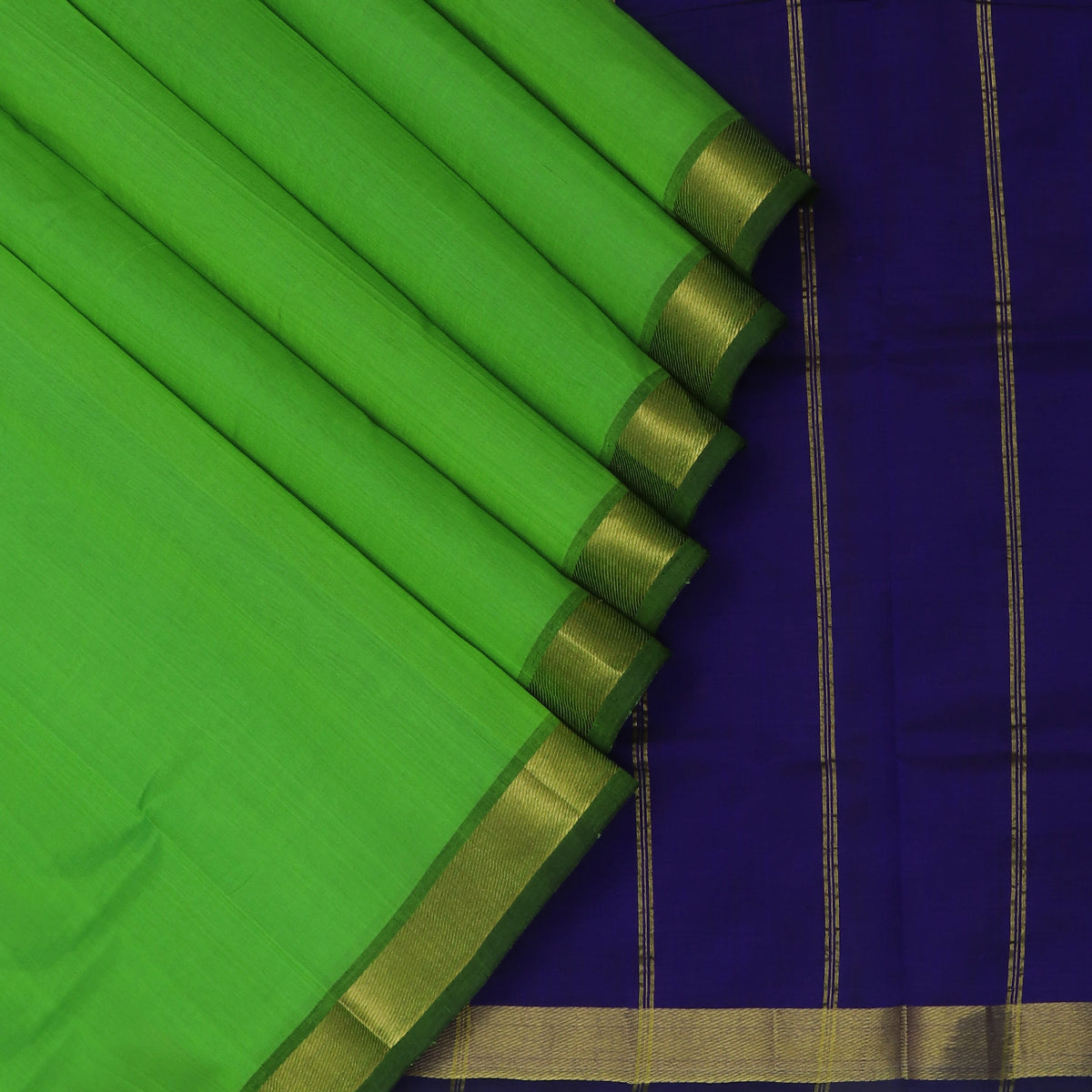 Silk Cotton Saree-Parrot Green and Blue with Zari border