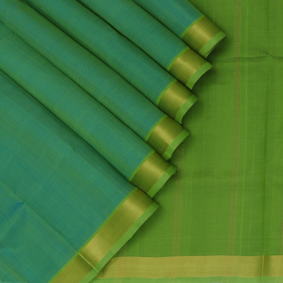 Silk Cotton Saree-Dual shade of Sea blue and Light Green with Zari border