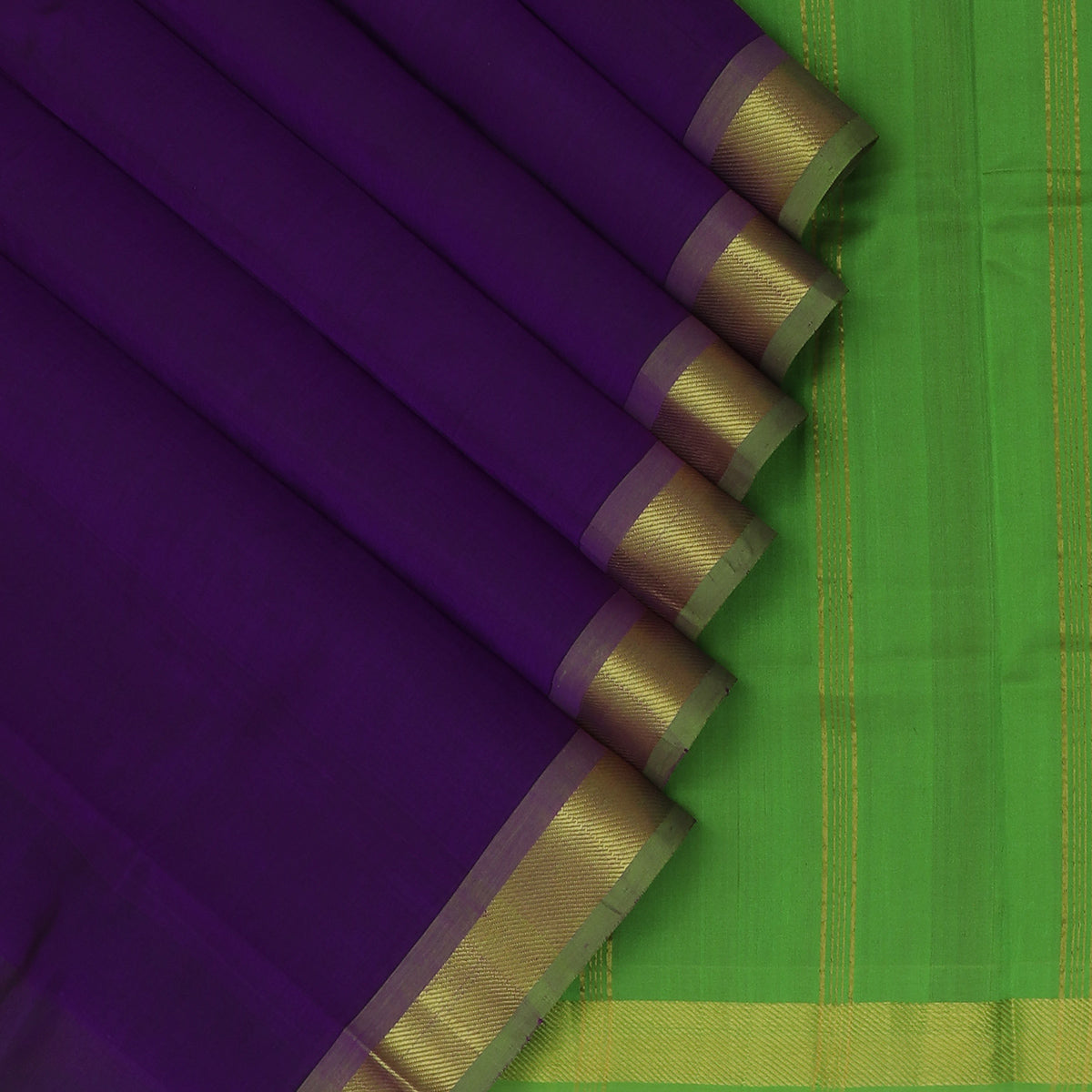 Silk Cotton Saree-Indigo Blue and Light Green with Zari border