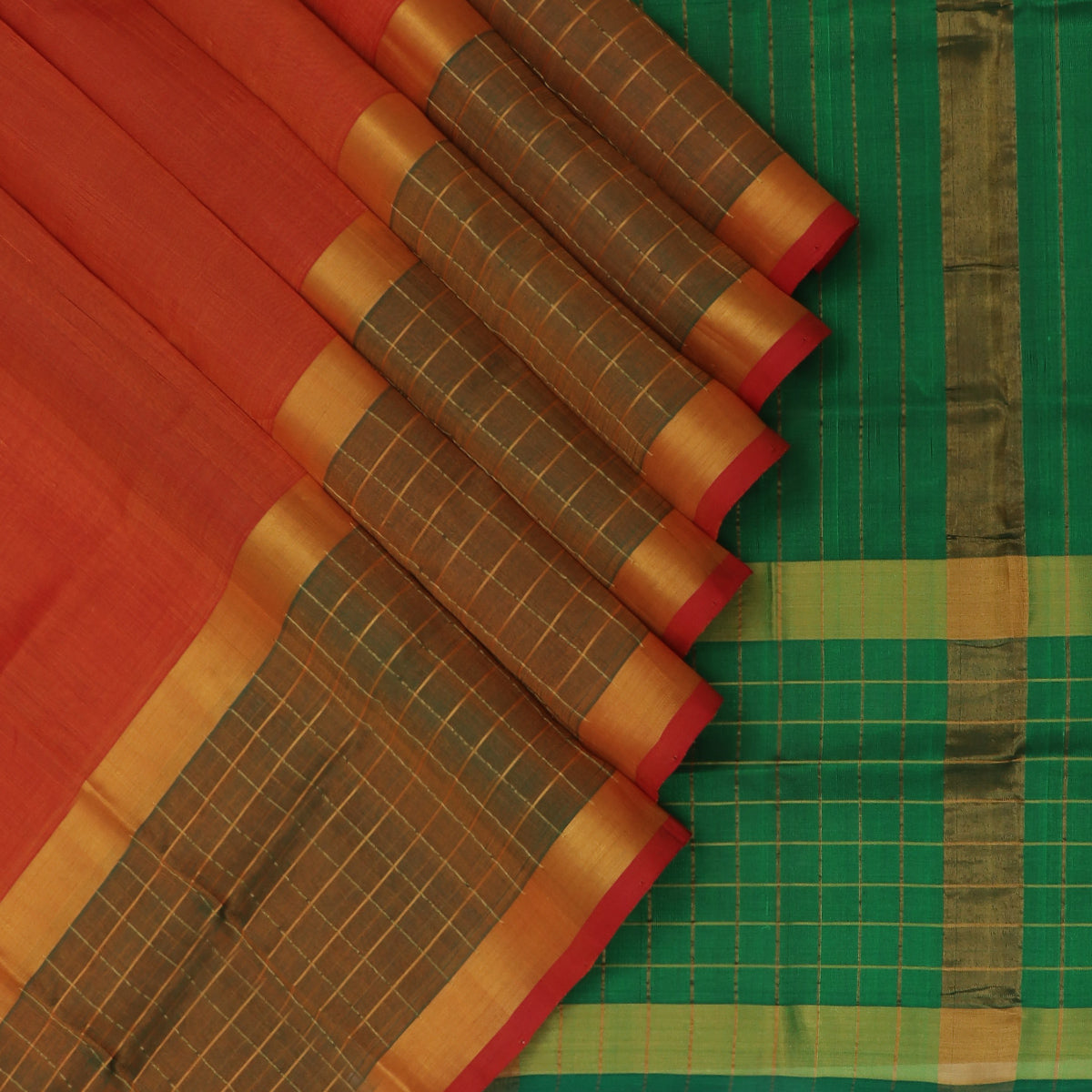 Silk Cotton Saree-Brick Orange and Green with Checked and Zari border