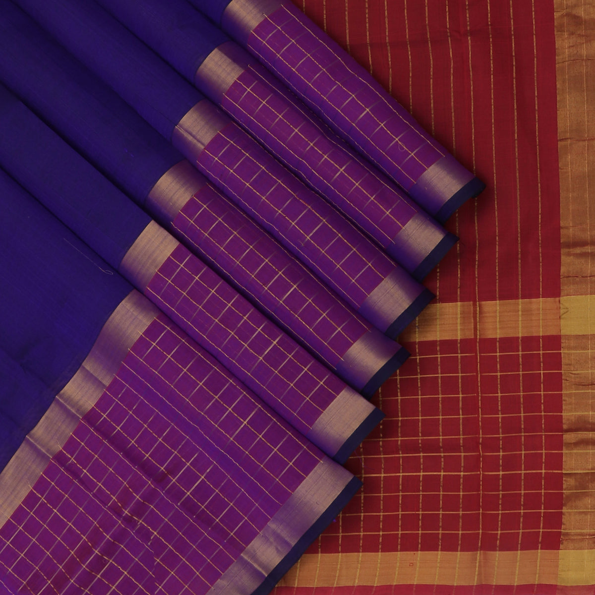 Silk Cotton Saree-Blue and Maroon with Checked and Zari border