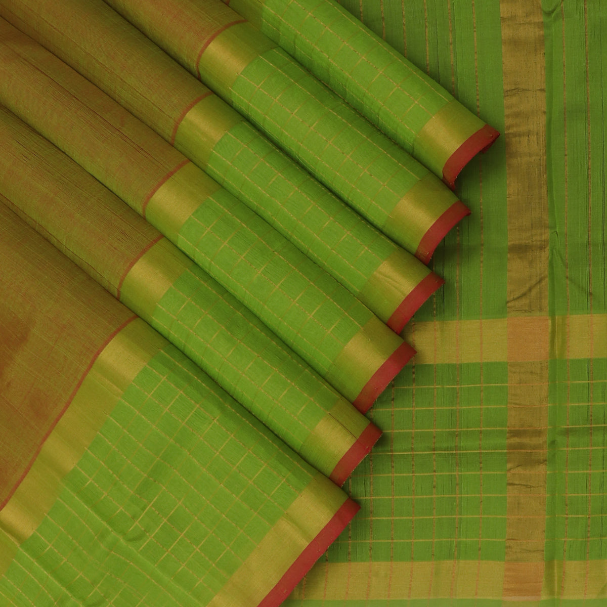 Silk Cotton Saree-Dual shade of Mehandi Green and Red with Checked and Zari border