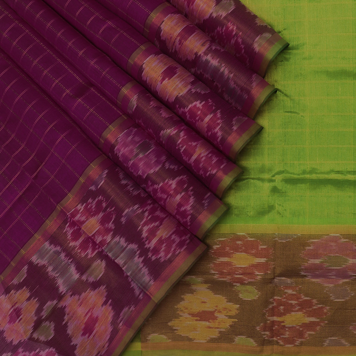 Silk Cotton Saree-Violet with Gold Line and Mehandi Green with Ikkat border