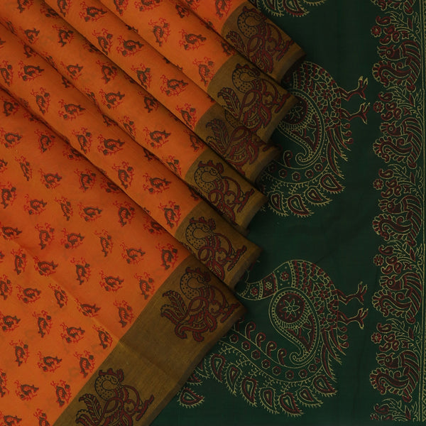 Printed Silk Cotton Saree Brick Orange and Dark Green with zari border