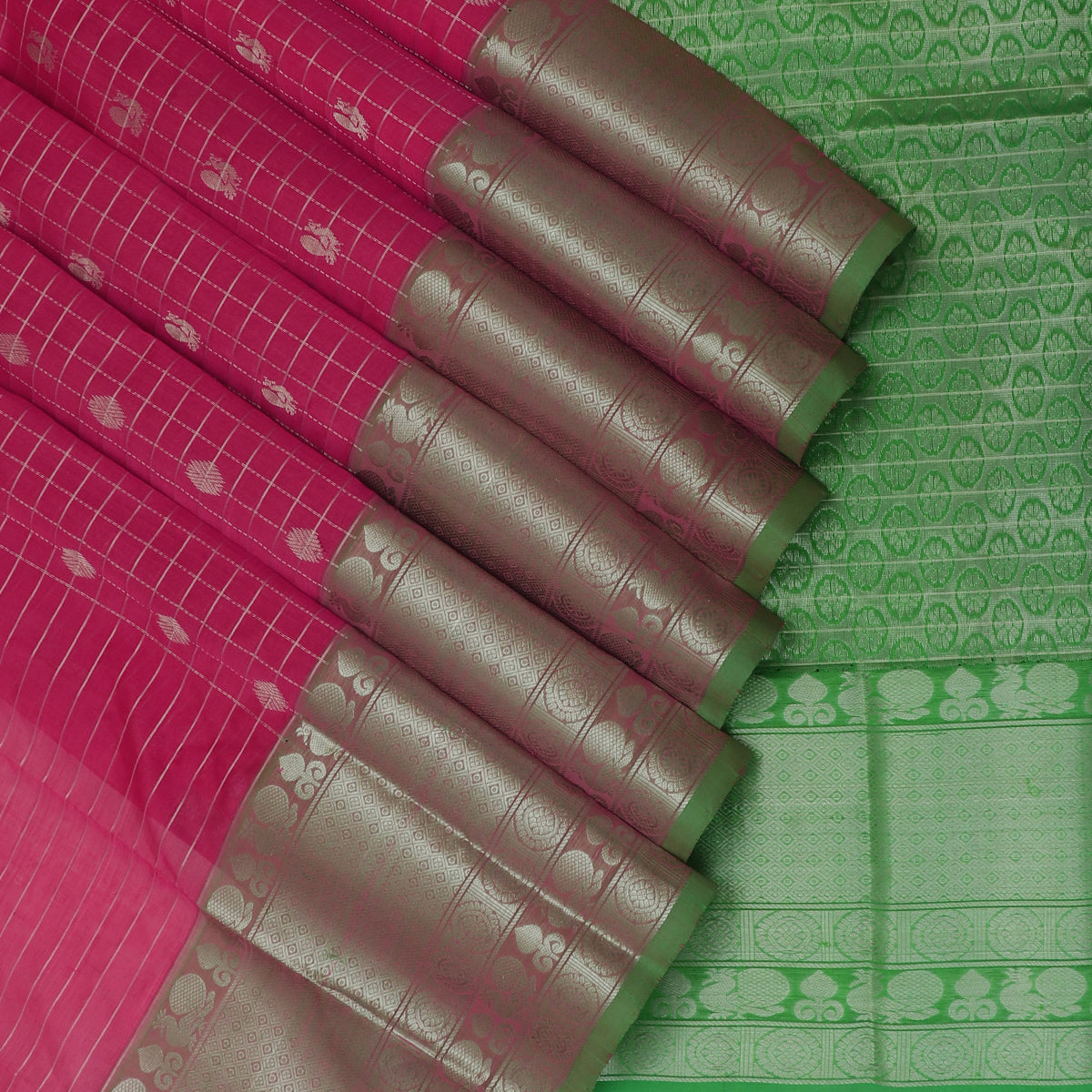 Kuppadam Silk Cotton Saree-Pink with silver line and light Green with Annam Silk Zari border