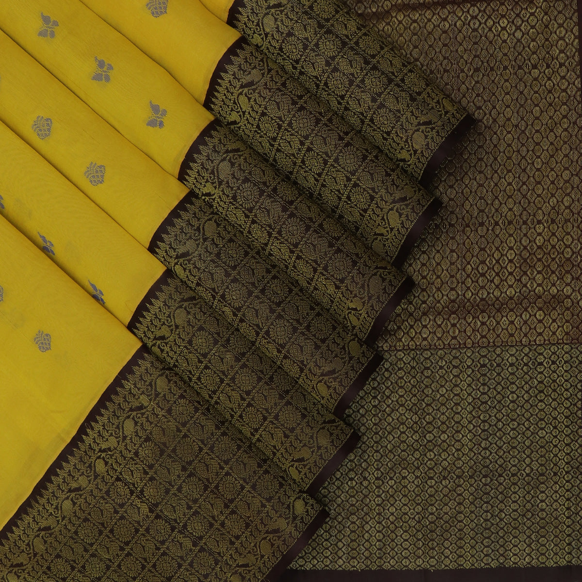 Kuppadam Silk Cotton Saree-Yellow with buttas and Brown with Annam silk Zari border