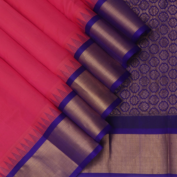 Kuppadam Silk Cotton Saree-Pink and Blue With Temple and Silk border