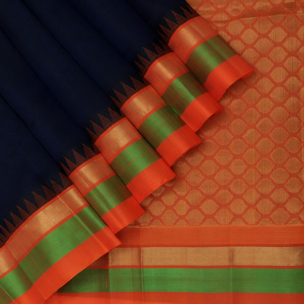 Kuppadam Silk Cotton Saree-Dark Blue and Orange With temple and Silk border