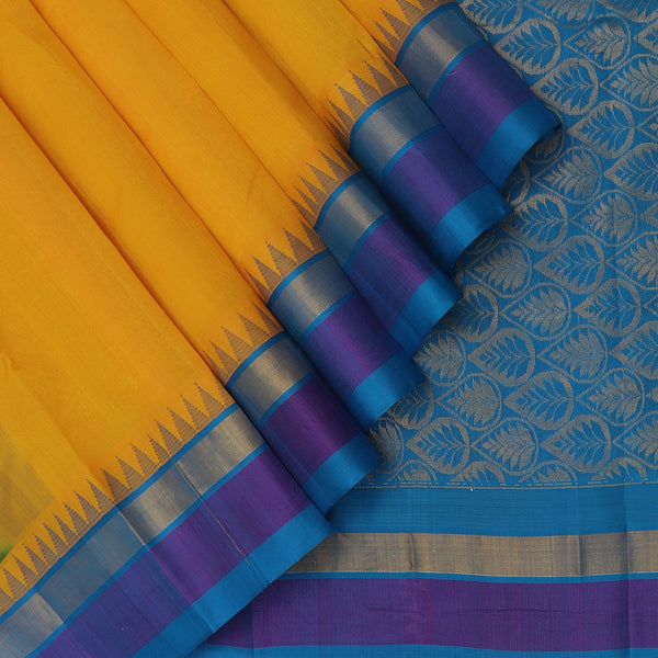 Kuppadam Silk Cotton Saree-Yellow and Sky Blue With temple and Silk border