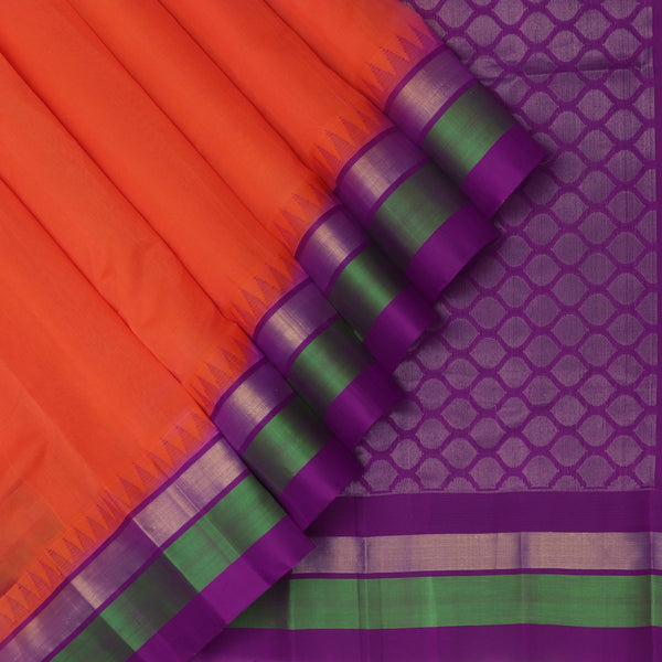Kuppadam Silk Cotton Saree-Orange and Violet With temple and Silk border
