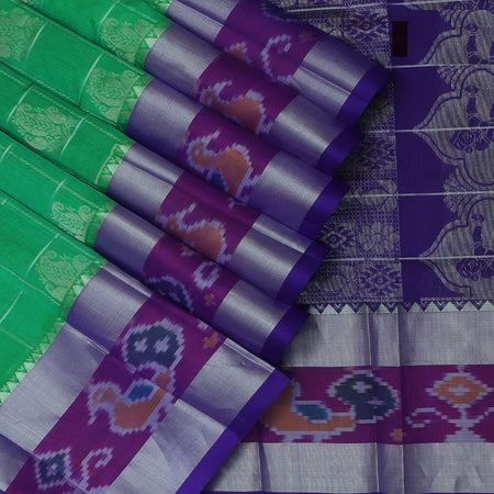 Silk Cotton Saree-Green and Blue with temple and Ikkat border