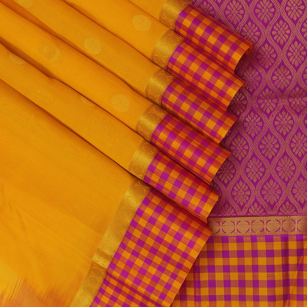 Silk Cotton Saree-Yellow with Buttas and Pink with Rudraksha and Small checked Border