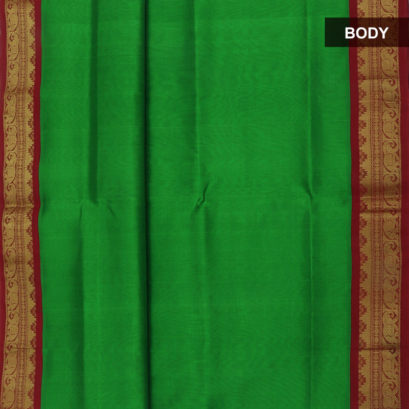 Silk Cotton Saree-Green and Maroon with Temple zari Border korvai