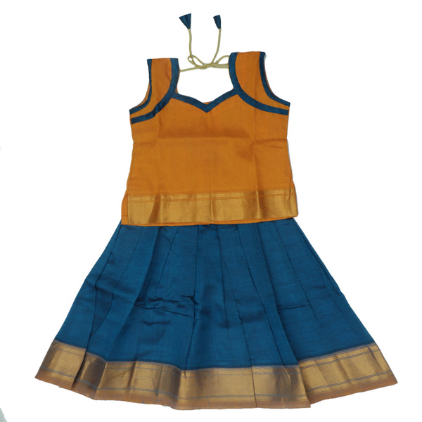 Paavadai Sattai-Yellow and Peacock Blue with Zari border(2 year)