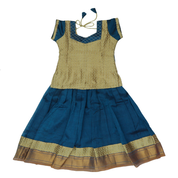 Paavadai Sattai-Beige and Peacock Blue with Zari border(4 year)