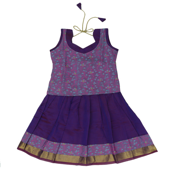 Paavadai Sattai-Purple and Violet with Zari border(1 year)