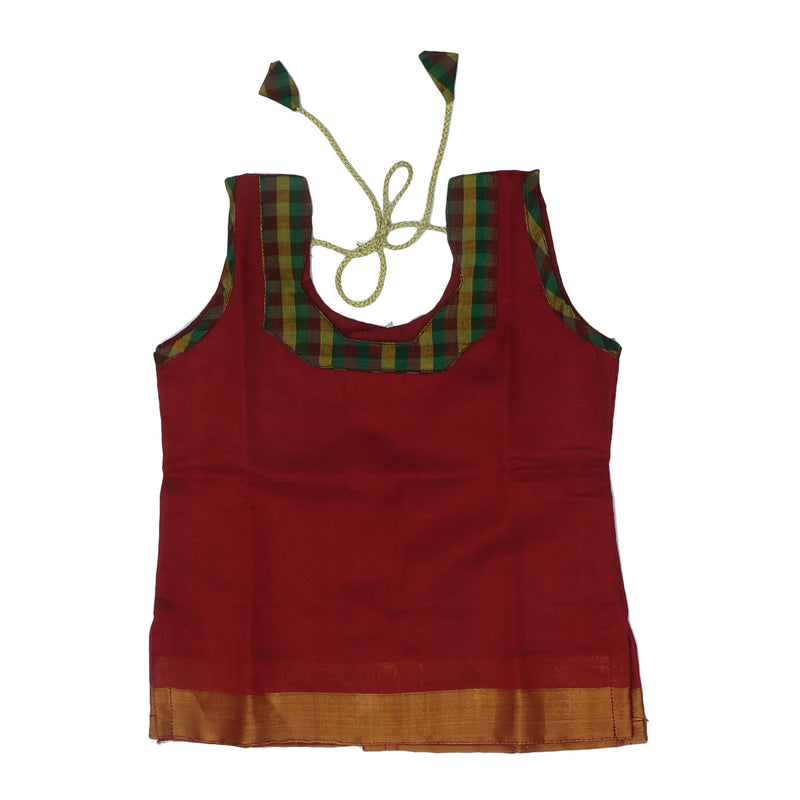 Paavadai Sattai-Maroon and Checked Green with Zari border(2 year)