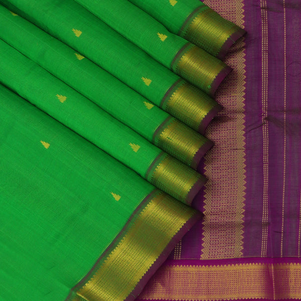 Silk Cotton Saree-Vairaoosi Green with Buttas and Indigo Blue with Temple zari Border 9 yards