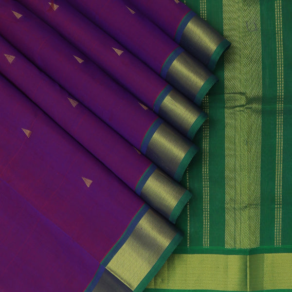 Silk Cotton Saree-Violet with Buttas and Green with Simple zari Border 9 Yards