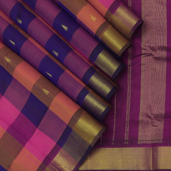 Silk Cotton Saree-Multi color Checked with Buttas and violet with zari Border 9 Yards