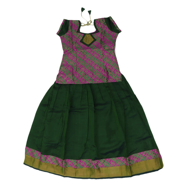 Paavadai Sattai-Pink and Green with Embossed and Moss Green with Zari border(9 years)