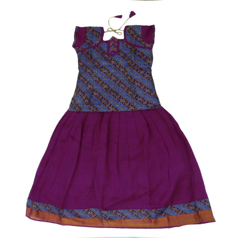 Paavadai Sattai-Blue and Violet with Embossed and Violet with Zari border(10 years)