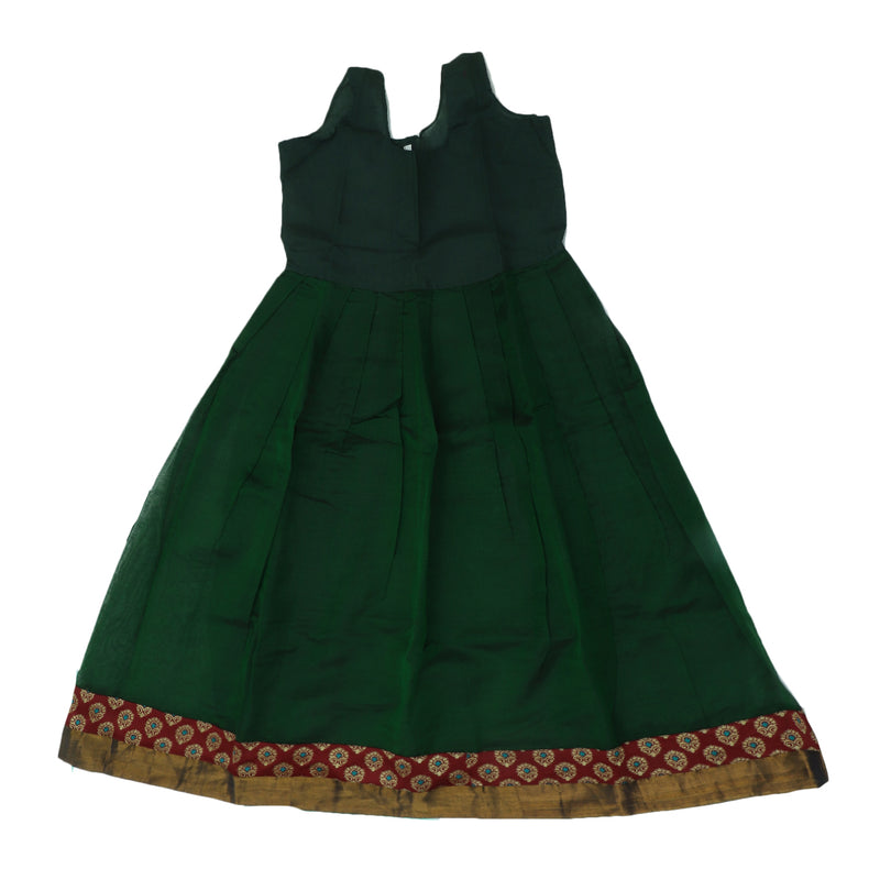 Paavadai Sattai-Maroon with Embossed and Dark Green with Zari border(9 years)