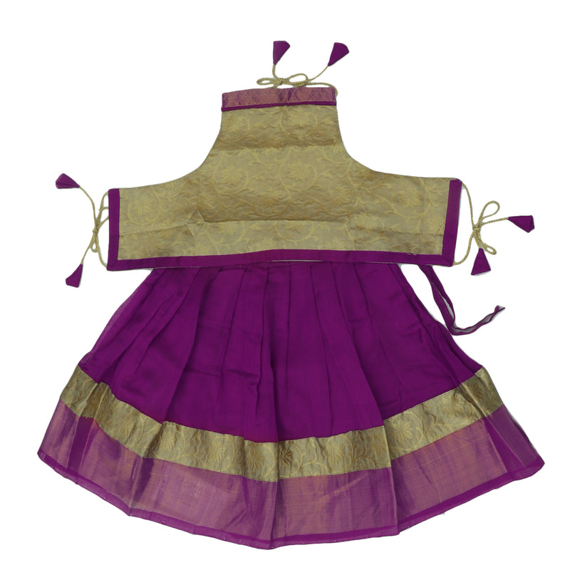 Paavadai Sattai-Beige with violet and zari border(2 years)