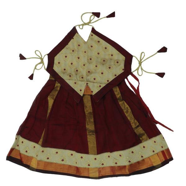 Paavadai Sattai-Beige and Maroon with zari Border(1 year)