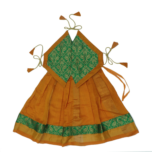 Paavadai Sattai-light Green and Yellow with zari border(1 year)