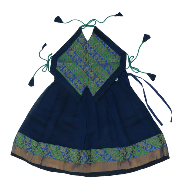 Paavadai Sattai-Green and blue with Embossed and Blue with zari Border(1 year)
