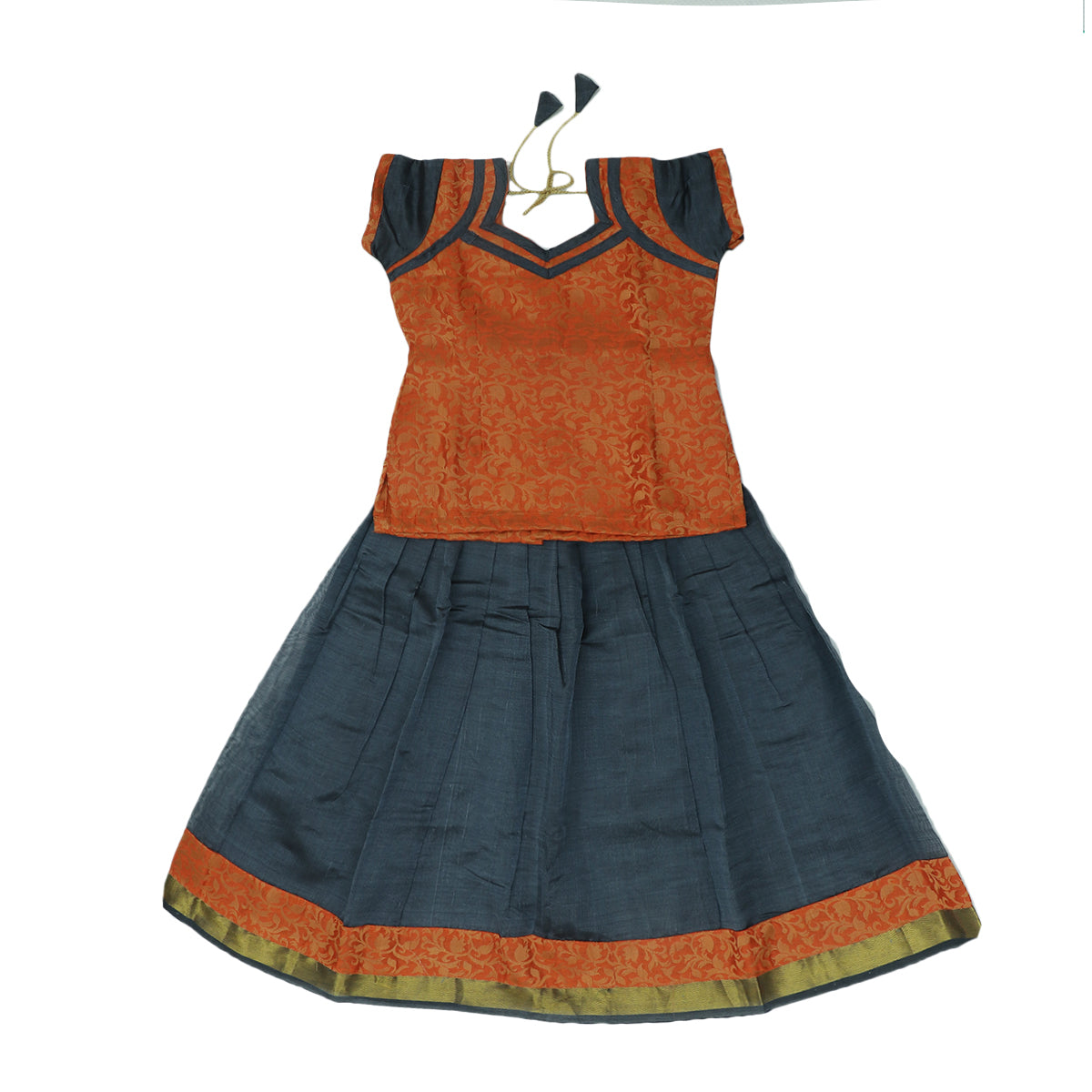 Paavadai Sattai-Orange and Grey with zari border(5 years)