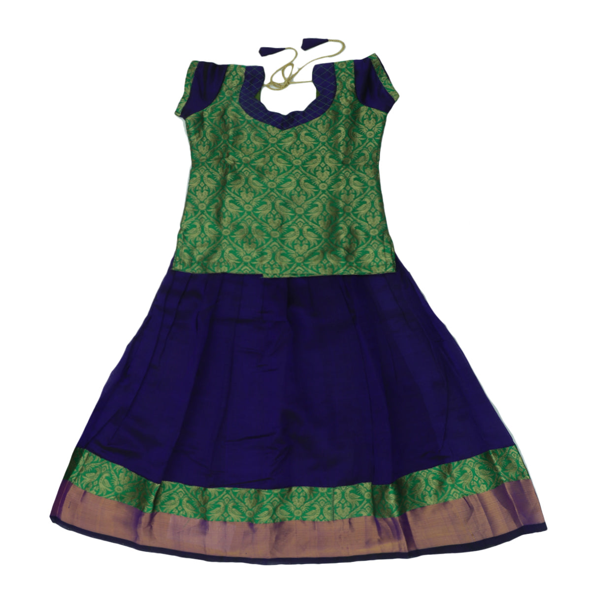 Paavadai Sattai-Light Green and Blue with Zari border(6 years)