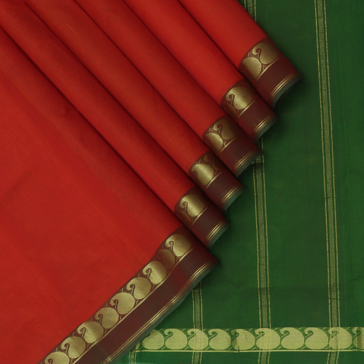 Silk Cotton Saree-Red and Dark Green with Mango zari Border