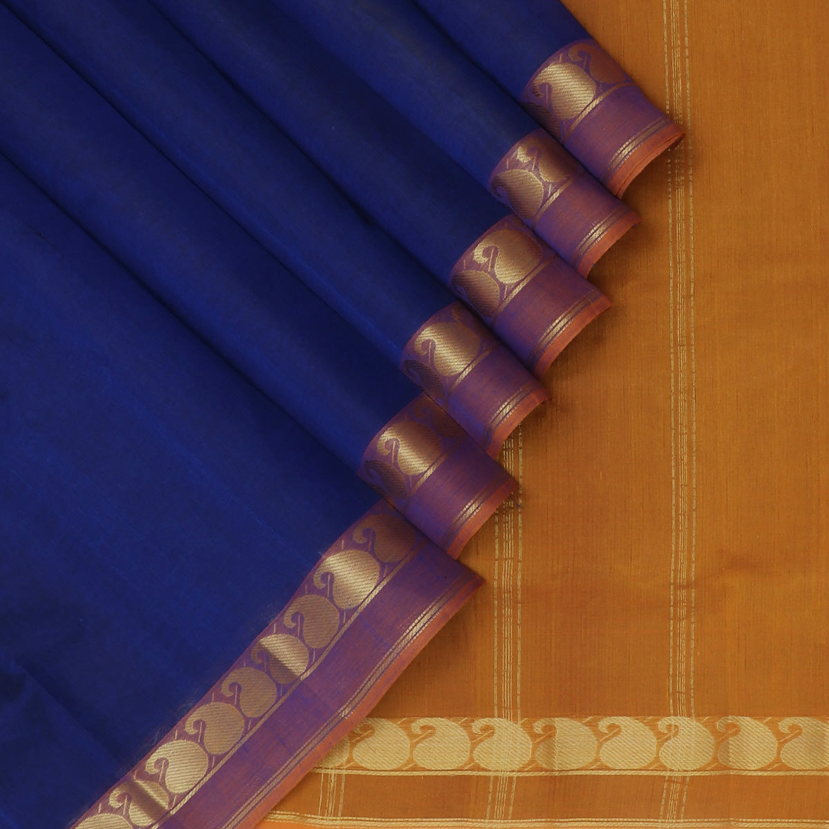 Silk Cotton Saree-Blue and Honey color with Mango zari Border