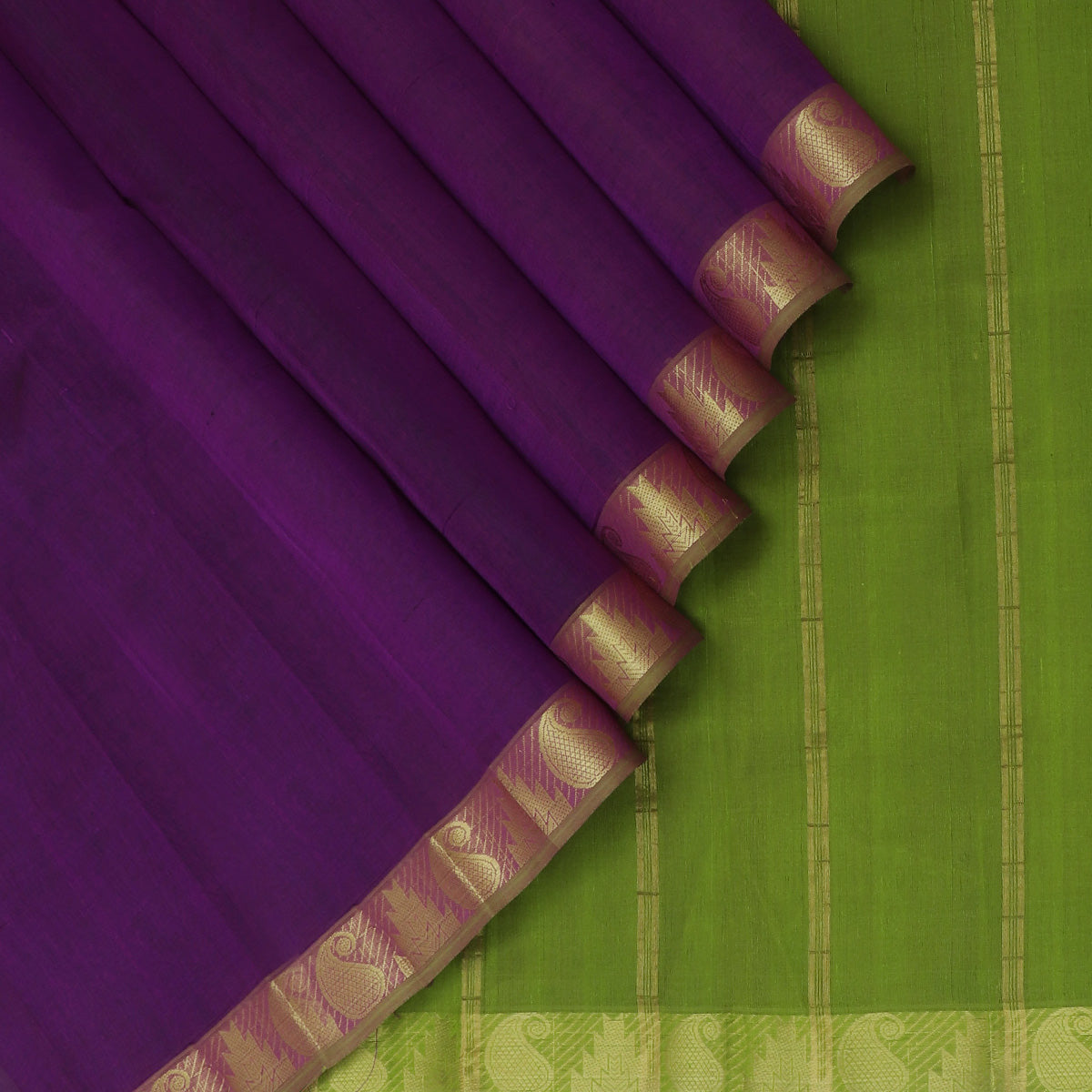 Silk Cotton Saree-Violet and Mehandi Green with Mango and Temple zari Border