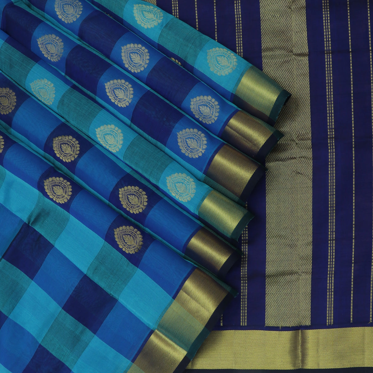 Silk Cotton Saree-Blue and Sky Blue Paalum Pazham Checks with buttas and zari Border
