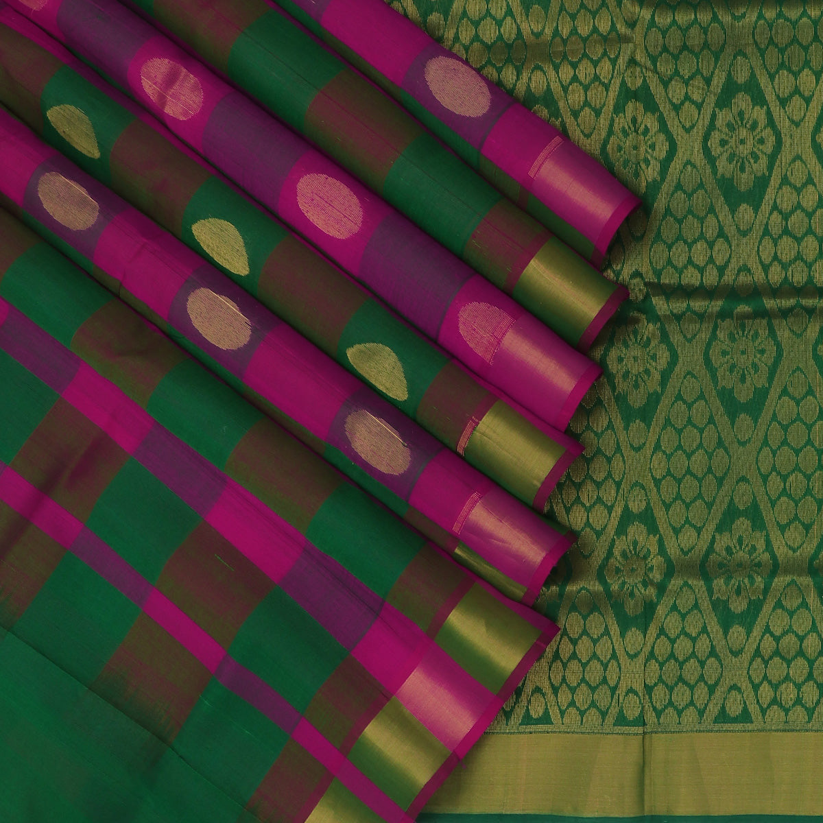 Silk Cotton Saree-Green and Pink Paalum Pazham Checks with Round buttas and zari Border