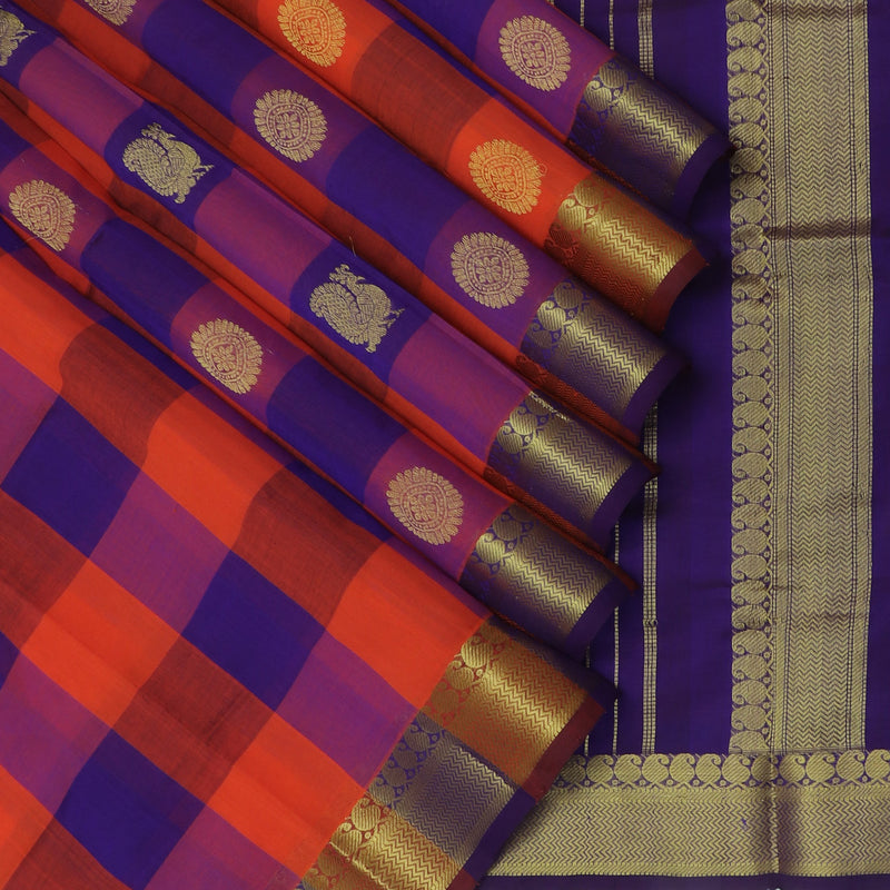 Silk Cotton Saree-Orange and Blue Paalum Pazham Checks with Annam and mandala buttas and Mango zari Border