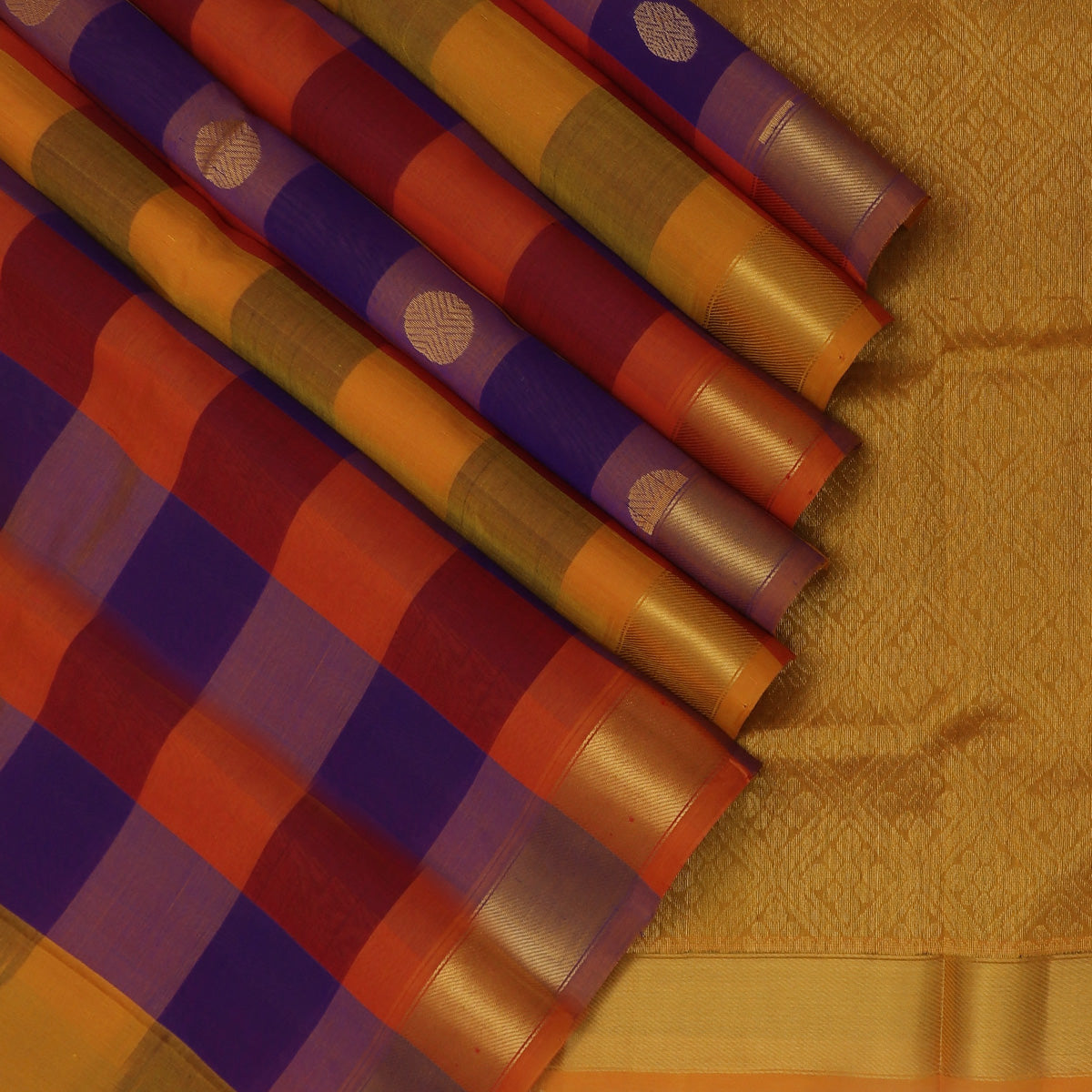 Silk Cotton Saree-Multi color Paalum Pazham Checks with Rudraksha buttas and zari Border