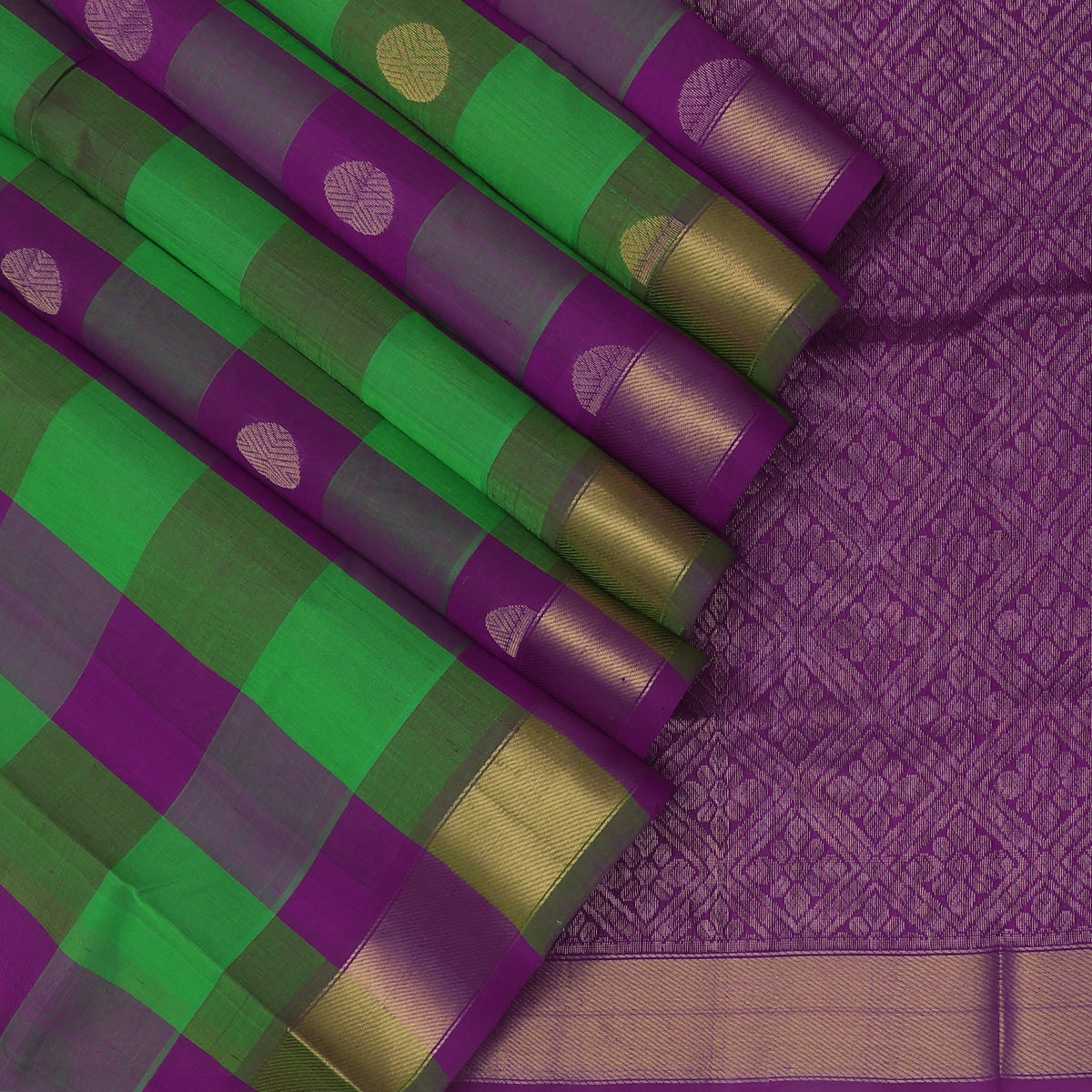 Silk Cotton Saree-Green and Violet Paalum Pazham Checks with Rudraksha buttas and zari Border