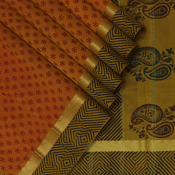 Printed Silk Cotton Saree-Honey Color with zari border