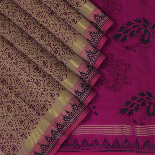 Printed Silk Cotton Saree-Light Brown and Pink with zari border