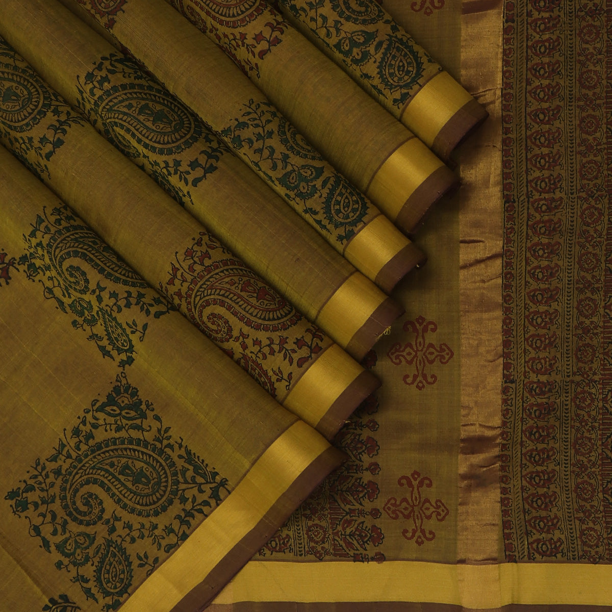 Printed Silk Cotton Saree-Dual Shade of Army Green with Zari border
