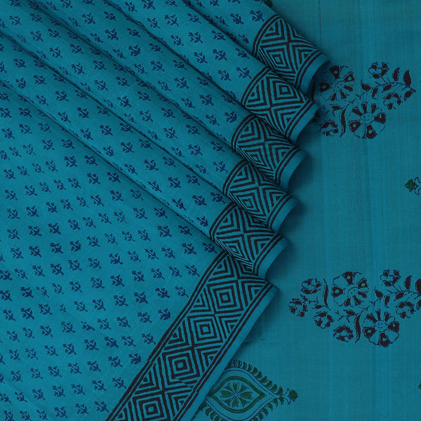 Printed Silk Cotton Saree-Sky Blue with Simple border
