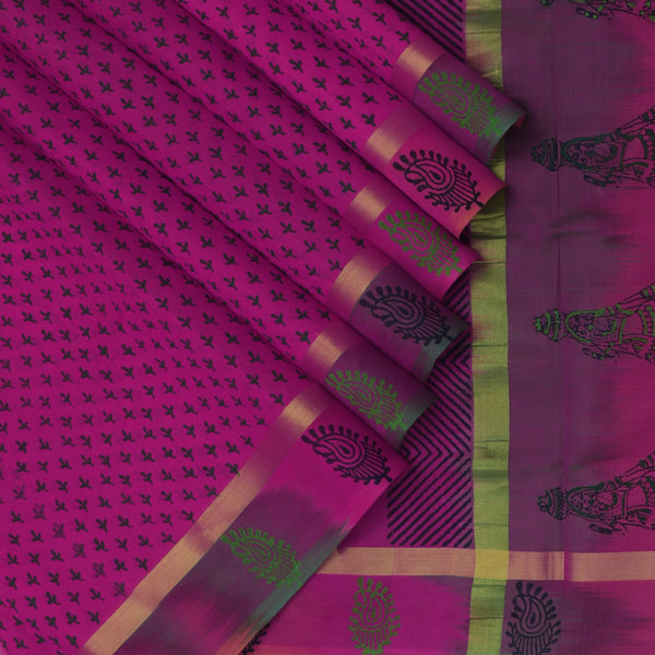 Printed Silk Cotton Saree-Magenta with Simple zari border