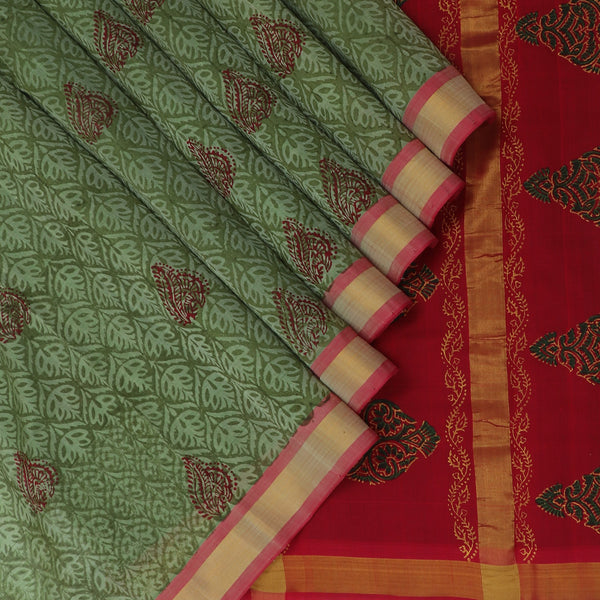 Printed Silk Cotton Saree-Sage Green and Red with Simple border